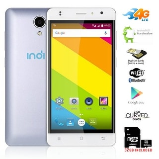 "Indigi Ultra-Slim 4G LTE SmartPhone 5"" Curved Android 6.0 Marshmallow + 32gb Included - White"