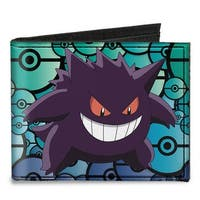 Gengar Pose + Logo Stacked Poke Balls Black Blues Canvas Bi Fold Wallet One Size - One Size Fits most