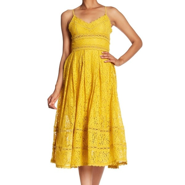 058315c900 NSR Mustard Yellow Womens Dress Small S Floral Lace Fit & Flare Sheath