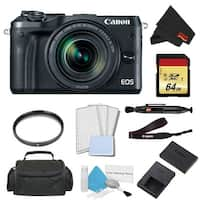 Canon EOS M6 Mirrorless Digital Camera with 18-150mm Lens Advanced Bundle w/ 64GB Memory Card - Intl Model