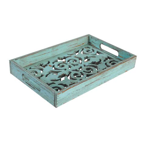 HiEnd Accents Turquoise Wooden Tray