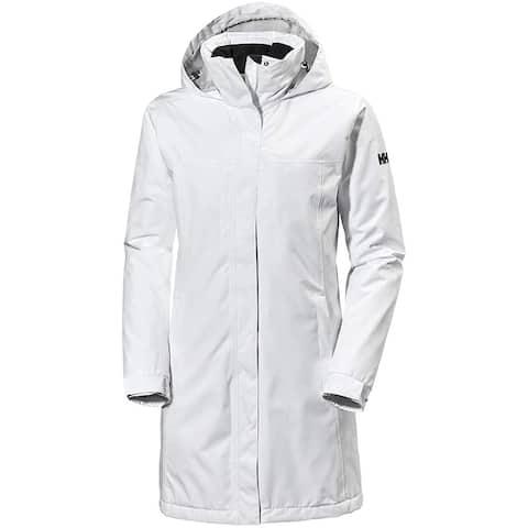 Helly Hansen Womens Jacket White Size XL Zip Front Drawstring Raincoat