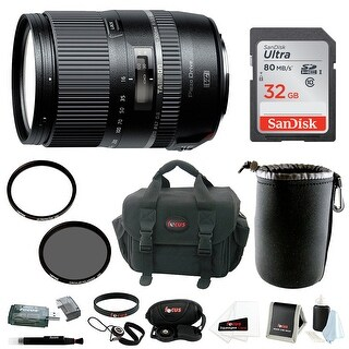 Tamron 16-300mm Macro Lens with Hood for Nikon and 32GB SDHC Accessory Bundle