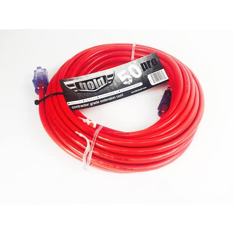 Bold 50' 12/3 AWG SJTW Contractor Grade Lighted Extension Cord, Red