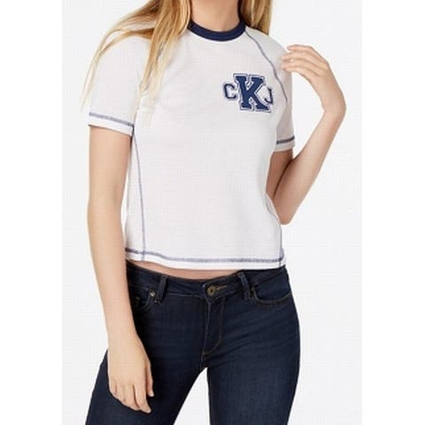 Calvin Klein Jeans White Womens Size Large L Graphic Tee-Shirt Top