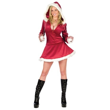 Fun World Sexy Hooded Mrs Santa Adult Costume - Red
