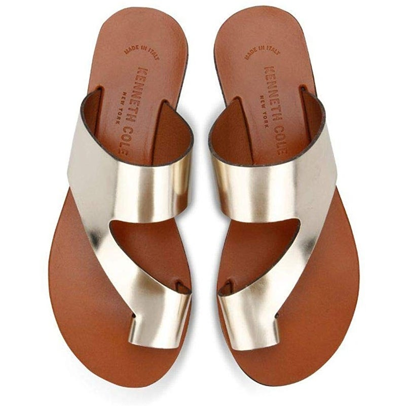 Kenneth Cole New York Womens Palm Leather Slip On Flat Sandals Shoes BHFO 1599