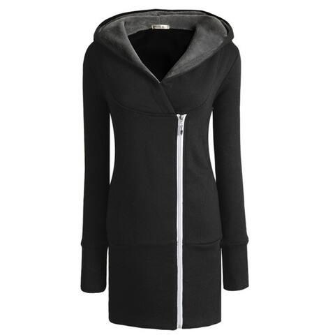 Womens Autumn Winter Long Zip Tops Hoodie Coat Jacket Outerwear Women Coat