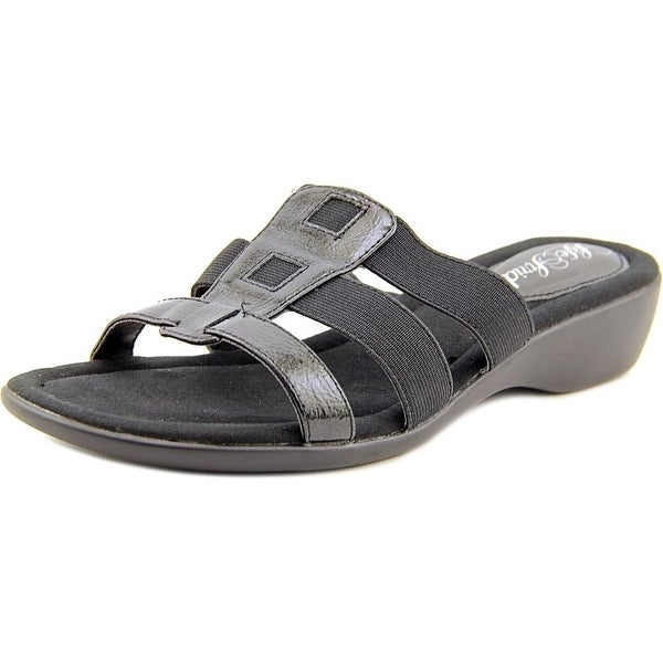 Life Stride Talk Women W Open Toe Leather Black Slides Sandal