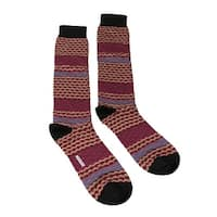 Missoni GM00CMU5238 0002 Tan/Fuchsia Mixed Stripe Knee Length Socks - M