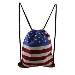 Canvas US Flag Printed Drawstring Backpack