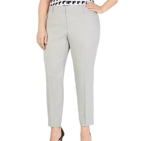Calvin Klein Womens Pants Gray Size 14W Plus Dress Slim Fit Stretch