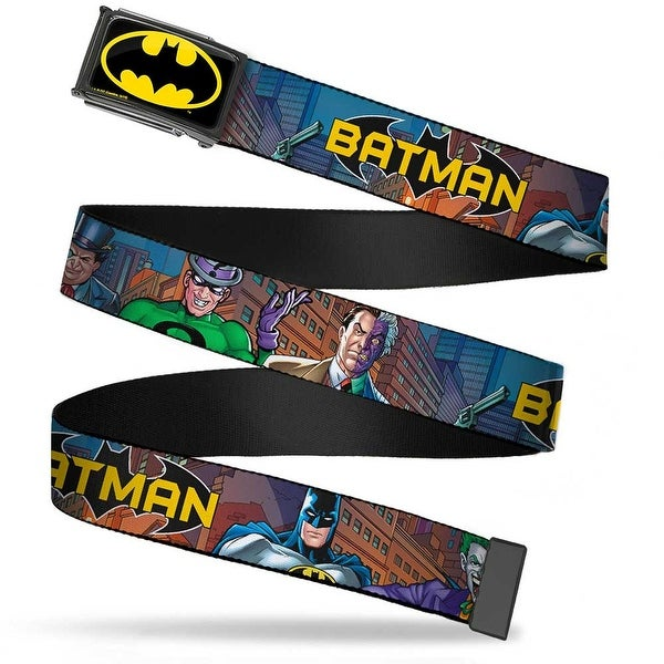 Batman Fcg Black Yellow Chrome Batman & Villains2 Cityscape Webbing Web Belt