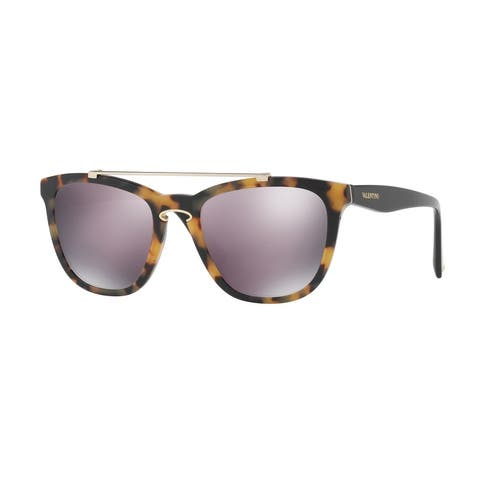 Valentino VA4002 50305R 54 Top Havana On Black Woman Square Sunglasses