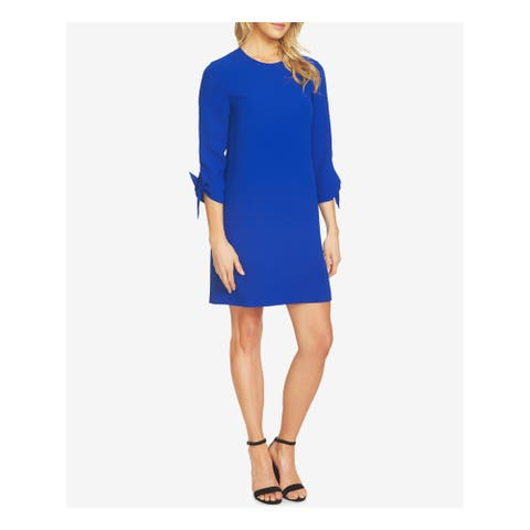 CECE Womens Blue 3/4 Sleeve Above The Knee Shift Dress Size 2