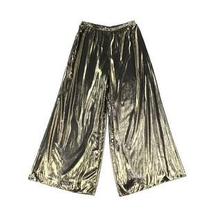 MSK NEW Gold Womens Size Large L Metallic Pull-On Wide Leg Dress Pants
