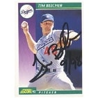 Tim Belcher Los Angeles Dodgers 1992 Score Autographed Card  This item comes with a certificate of