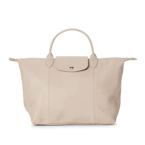 LongChamp Womens Le Pliage Cuir Beige Top Handle Leather Tote Handbag Medium