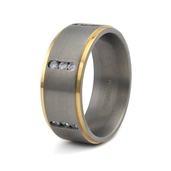 9mm Gold Plated Satin Finished Titanium Ring with CZs (Sizes 8-13)