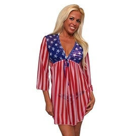 Women's USA Flag Long Sleeve Beach Dress Swimwear Bikini Cover Up