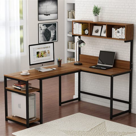 L-Shaped Computer Desk with Hutch and Storage ShelvesWriting Desk