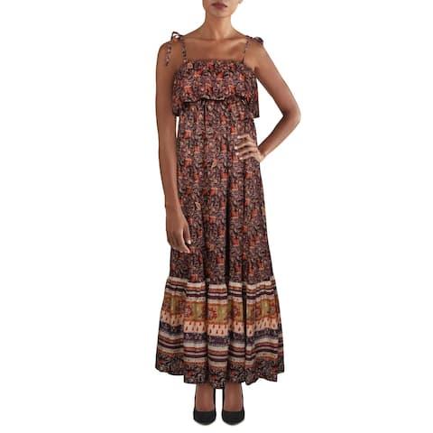 Free People Womens Babydoll Dress Empire Waist Maxi - Dark Combo