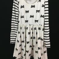 1989 Childrens Place girls t shirt dress 7/8 M medium white black bows