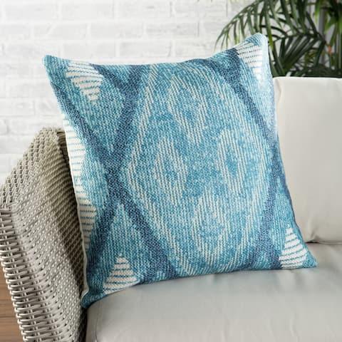Nikki Chu Sadler Indoor/ Outdoor Tribal Blue/ White Throw Pillow 22 inch