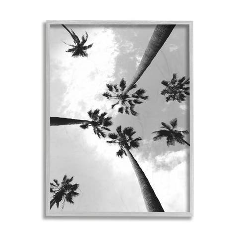 Stupell Industries Black and White Sky Through Palm Trees Framed Wall Art