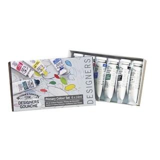 Winsor and Newton Non-Toxic Designers Gouache Paint Set, 0.5 oz Tube, Assorted Color, Set of 6