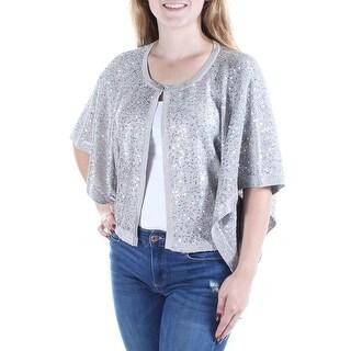 ALFANI $70 Womens New 1332 Silver Sequined Dolman Sleeve PONCHO Top M B+B