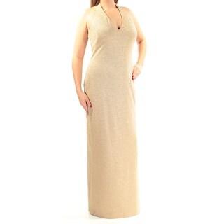 RALPH LAUREN $220 Womens New 1149 Gold Glitter Low Back Sheath Dress 12 B+B