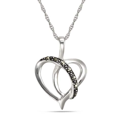 Forever Last Sterling Silver Heart Pendant on Necklace - Black