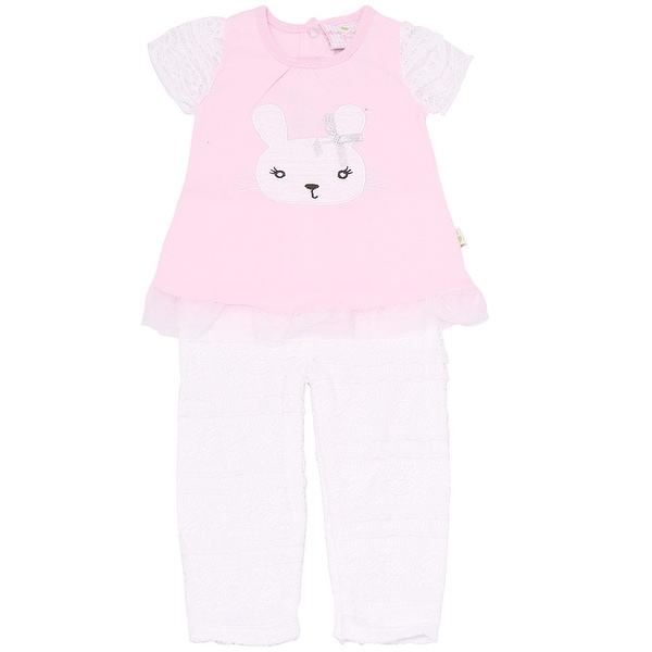 Duck Duck Goose Baby Girls Pink Bunny Face Applique 2 Pc Pant Outfit