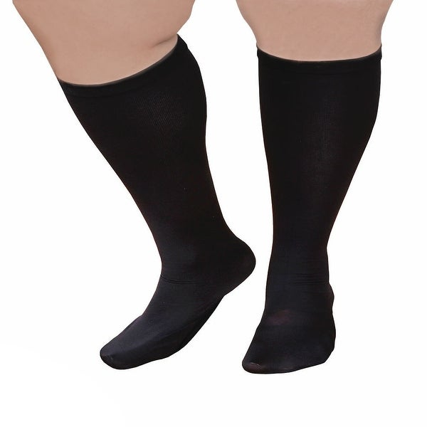 """Unisex Extra Wide Moderate Compression Knee High Socks -Up to XW / 4E & 26"""" Calf - One size"""