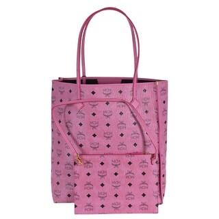 MCM Women's Pink Coated Canvas KIRA Visetos Tall Shopper Purse W/Pouch