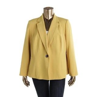 Kasper Womens Plus Solid Long Sleeves One-Button Blazer