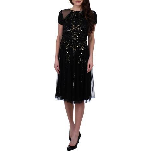 Aidan Mattox Womens Cocktail Dress Beaded Cap Sleeves