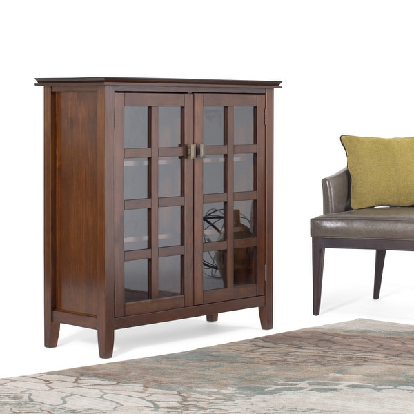 "WYNDENHALL Stratford SOLID WOOD 38 inch Wide Contemporary Medium Storage Cabinet - 38""w x 16.1""d x 40.6"" h. Opens flyout."