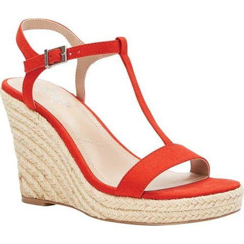 Charles by Charles David Women's Lili T Strap Wedge Sandal Candy Red Microsuede