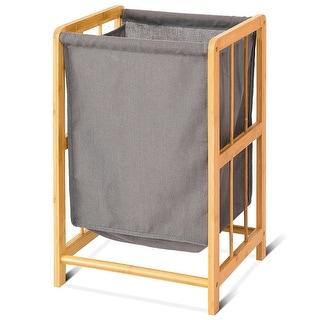 Costway Laundry Hamper Bamboo Frame Durable Cloth Bag Sorter Storage Basket Bin - as pic