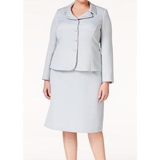 Tahari By ASL NEW Gray Women's Size 18W Plus Beaded Skirt Suit Set