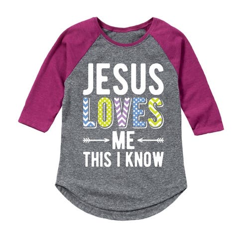 Jesus Loves Me This I Know - Toddler Girl Shirt Tail Raglan - Athletic/Fuchsia
