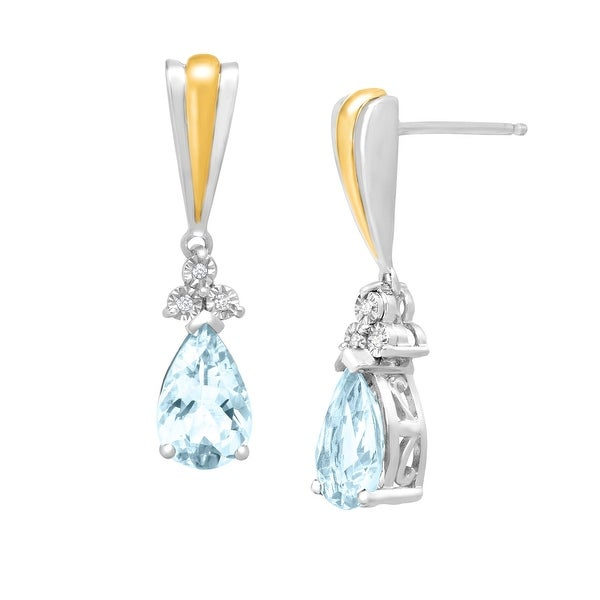 2 1/5 ct Aquamarine Drop Earrings with Diamonds in Sterling Silver & 14K Gold - Blue