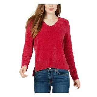 Link to MAISON JULES Womens Red Long Sleeve V Neck Hoodie Sweater  Size S Similar Items in Juniors' Clothing