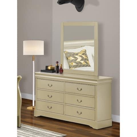 East West Furniture LP2-03 Wooden Dresser and Mirror in Walnut