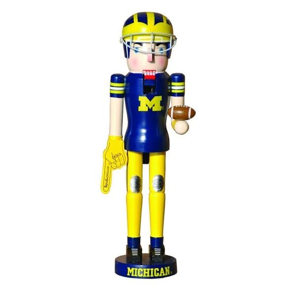 NCAA Michigan Wolverines Football Mascot Decorative Wooden Christmas Nutcracker - BLue