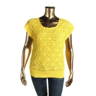 Joseph A Womens Pullover Sweater Crochet Front Ribbed Trim