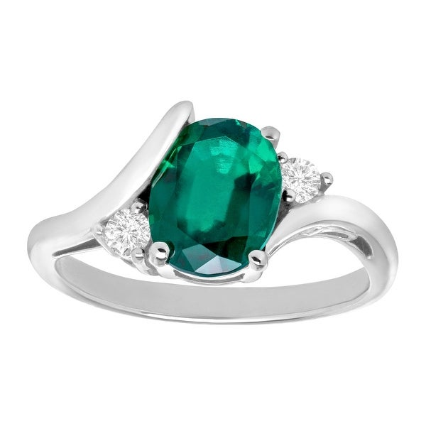 1 7/8 ct Created Emerald and Created White Sapphire Ring in Sterling Silver