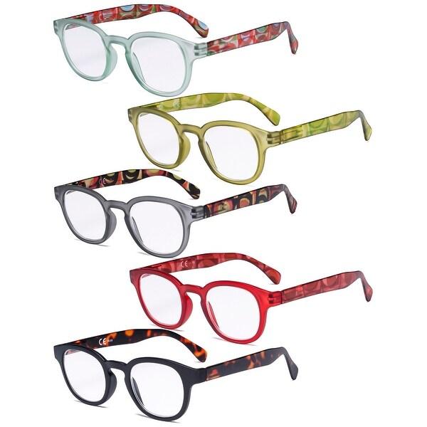 5 Pack Spring Hinges Reading Glasses - Vintage Pattern Design Women. Opens flyout.